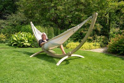 Hamaca Doble con Soporte 'Wood & Comfort' White
