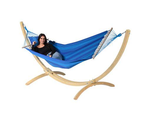 Hamaca Individual con Soporte 'Wood & Relax' Blue