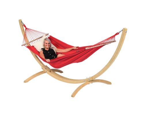 Hamaca Individual con Soporte 'Wood & Relax' Red