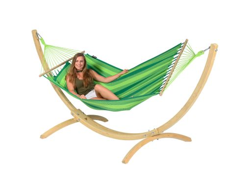 Hamaca Individual con Soporte 'Wood & Relax' Green